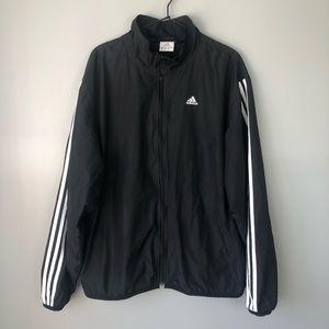 ADIDAS Black Stripe Lightweight Windbreaker Jacket Large